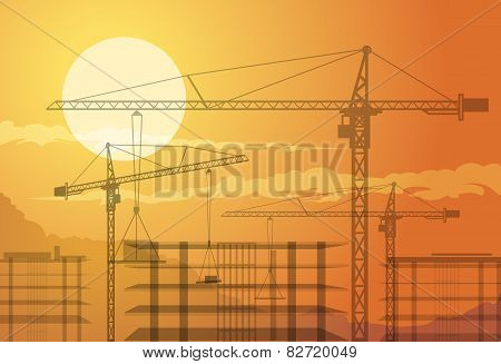 Buildings and cranes