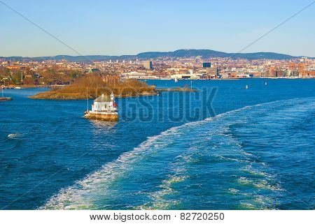 View of Oslo from a boat. Norway