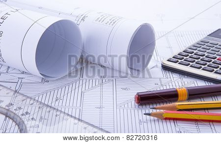 Blueprints And Drafting Tools.
