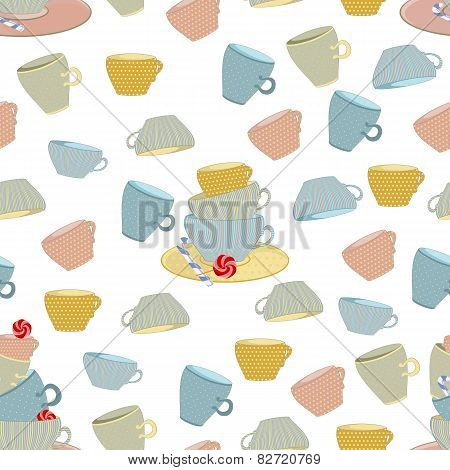 a set of mugs with candy on seamless background