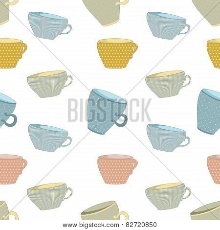 seamless background of mugs