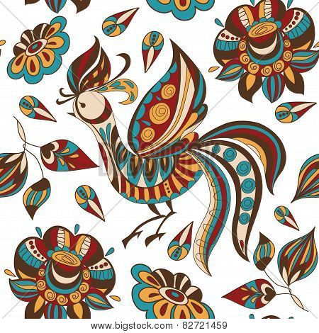 Seamless Background With Bright Abstract Flowers And Birds. Vector Illustration