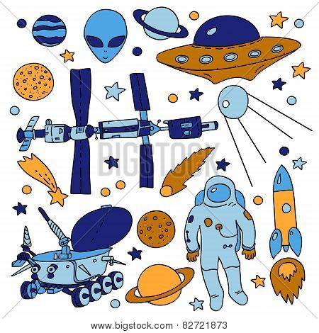 Colorful doodle space elements collection: ISS, moonwalker, planet, comet, moon, astronaut, alien, U