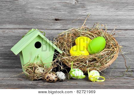 Easter Decoration With Eggs, Birdhouse