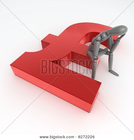 Person Sitting On A Red Shiny Pound Symbol