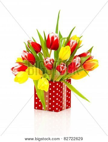 Beautiful Tulips In The Red Polka-dot Gift Box. Happy Mothers Day, Romantic Still Life,