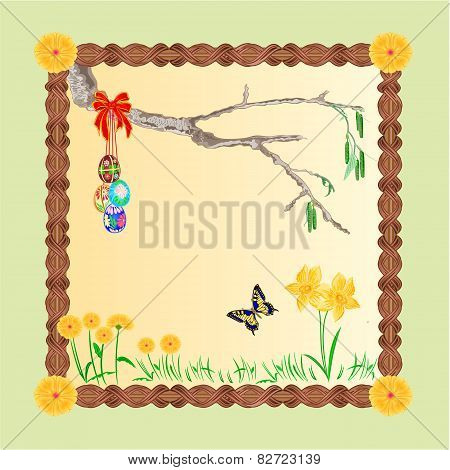 Frame Easter Eggs And A Birch Twig Vector