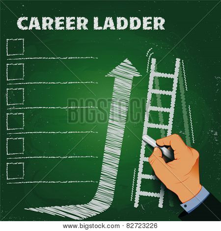 Career Ladder Chalk On A Blackboard Business Concept