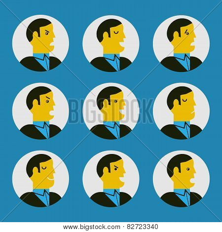 Vector Illustration Of Various Facial Expressions
