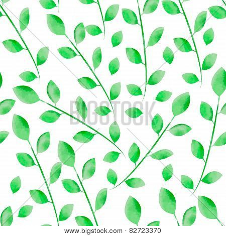 Watercolor  leaves seamless floral vector pattern