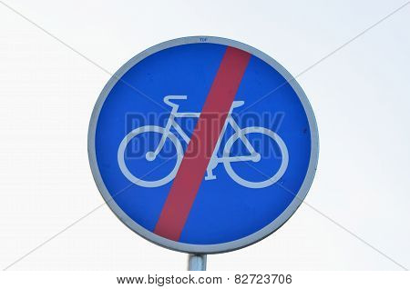 Traffic Sign, End Of Cycle Paths