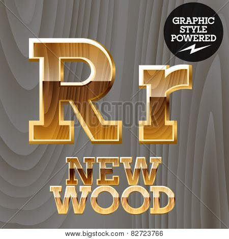 Vector wooden font with golden border. Letter R