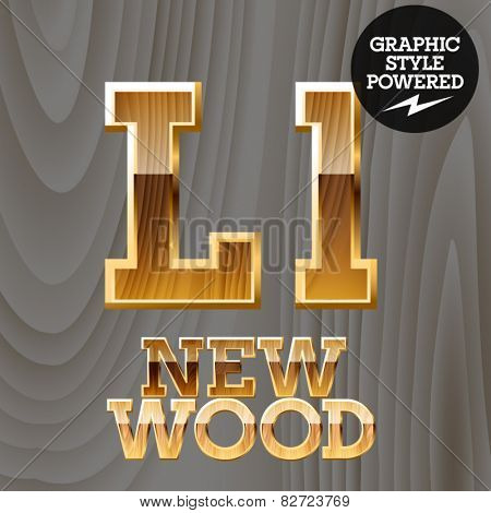 Vector wooden font with golden border. Letter L