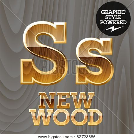 Vector wooden font with golden border. Letter S