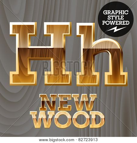 Vector wooden font with golden border. Letter H