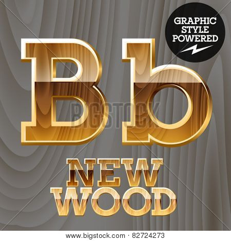 Vector wooden font with golden border. Letter B