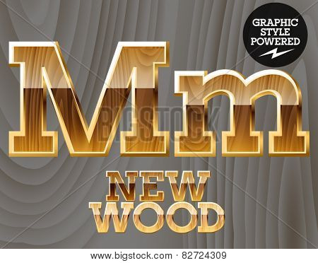 Vector wooden font with golden border. Letter M