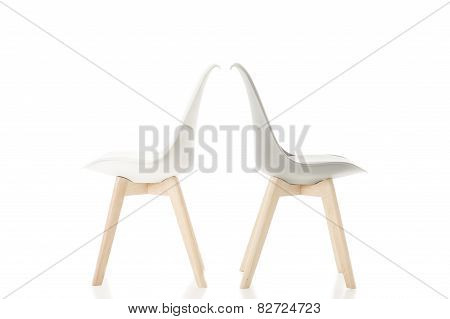 Back To Back Elegant Chairs On White Background