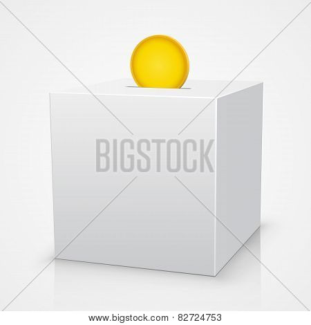 White box piggy bank with a coin