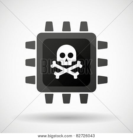 Cpu Icon With A Skull