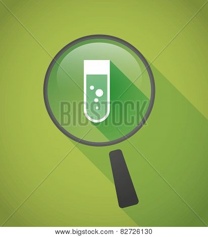 Magnifier Icon With A Chemical Test Tube