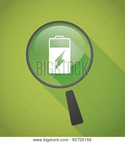 Magnifier Icon With A Battery
