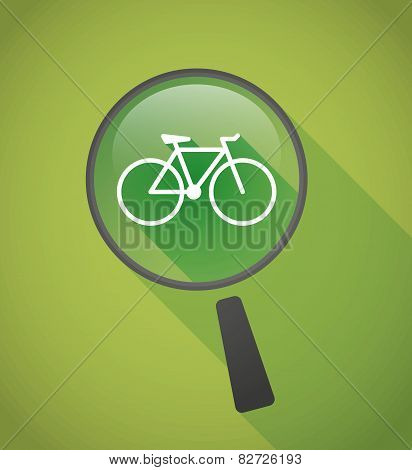 Magnifier Icon With A Bicycle