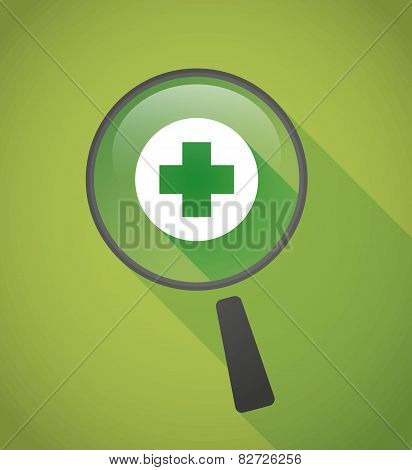 Magnifier Icon With A Pharmacy Sign