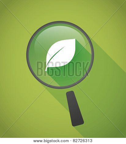 Magnifier Icon With A Leaf