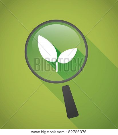 Magnifier Icon With A Plant