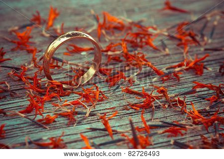 Love Ring On Wood In Autumn Season Tone Color
