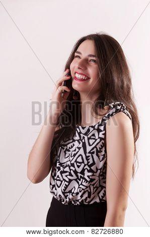 Pretty Woman Portrait With Mobile