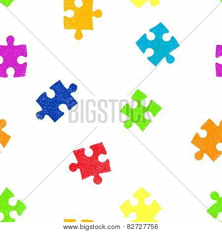 Puzzle seamless pattern background.
