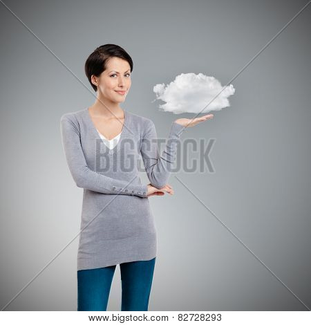 Pointing hand gesture, isolated on grey background with cloud