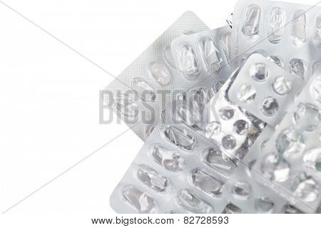 Empty package of capsules, isolated. Healthcare concept.