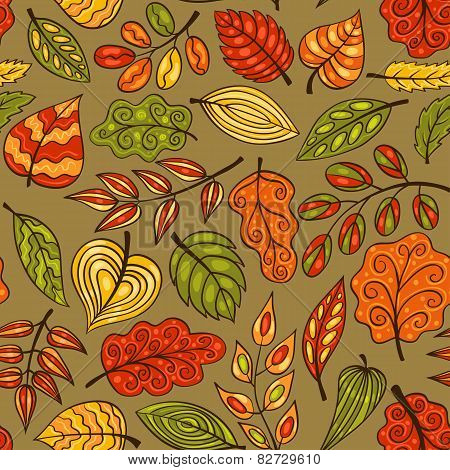 Cartoon Hand-drawn Seamless Pattern With Leaves