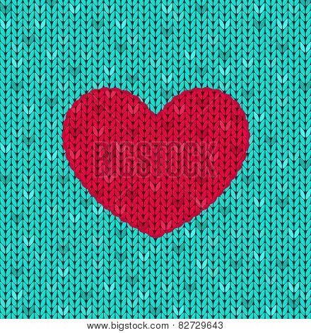 The  Knitted Card With Red Heart