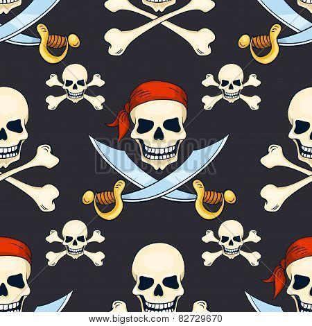 Cartoon Vector Hand-drawn Pirate Skulls Seamless Pattern