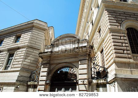 Rome City Life. View Of Bank Of Italy In Rome City