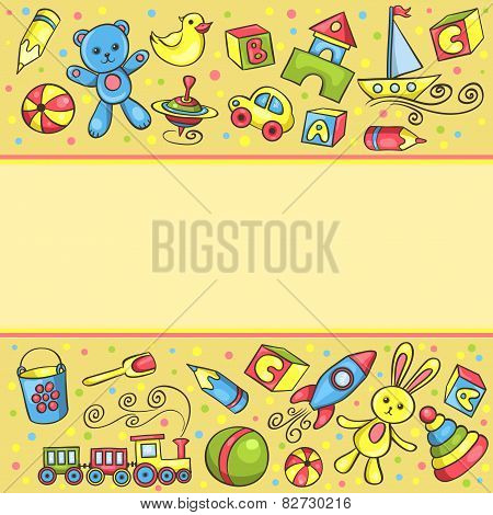 Card With Children Toys