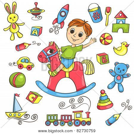 Cute Hand-drawn Vector Set With Toys