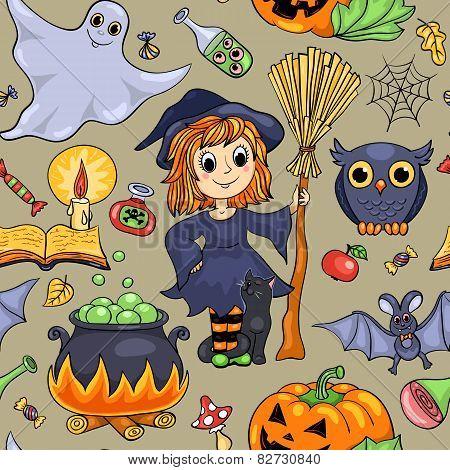 Cute Cartoon Halloween Seamless Pattern