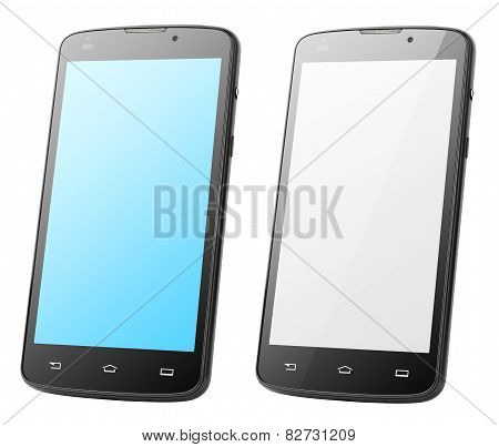 Modern Touch Screen Smartphones Isolated On White