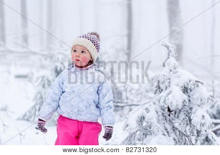 Portrait Of A Little Girl In Winter Hat In Snow Forest At Snowflakes Background