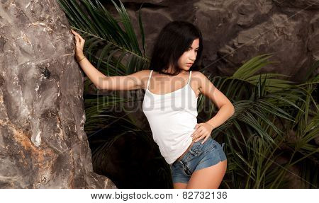 Woman Near A Rock