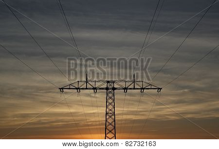 High Voltage Line At Sundown