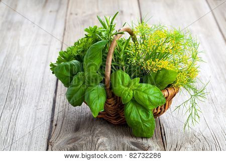 Green Herbs In Wicker Basket