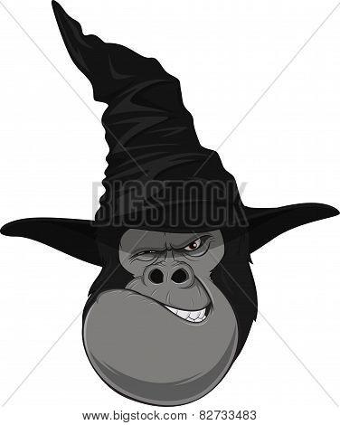 Gorilla head with hat