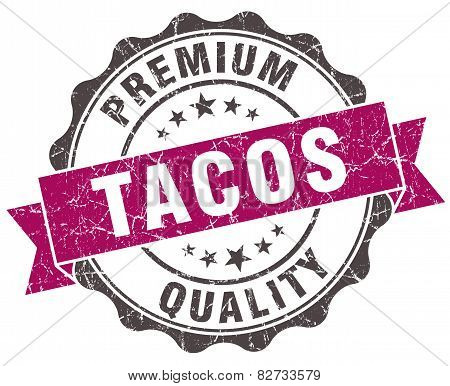Tacos Grunge Violet Seal Isolated On White