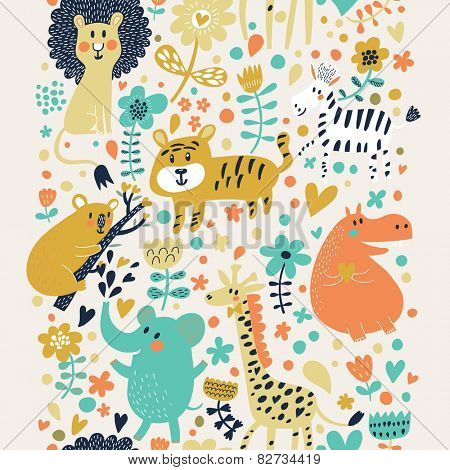 Awesome childish seamless pattern with lion, tiger, zebra, hippopotamus, koala and elephant. Can be used for pattern fills, web page backgrounds, surface textures. Great for children bedroom wallpaper